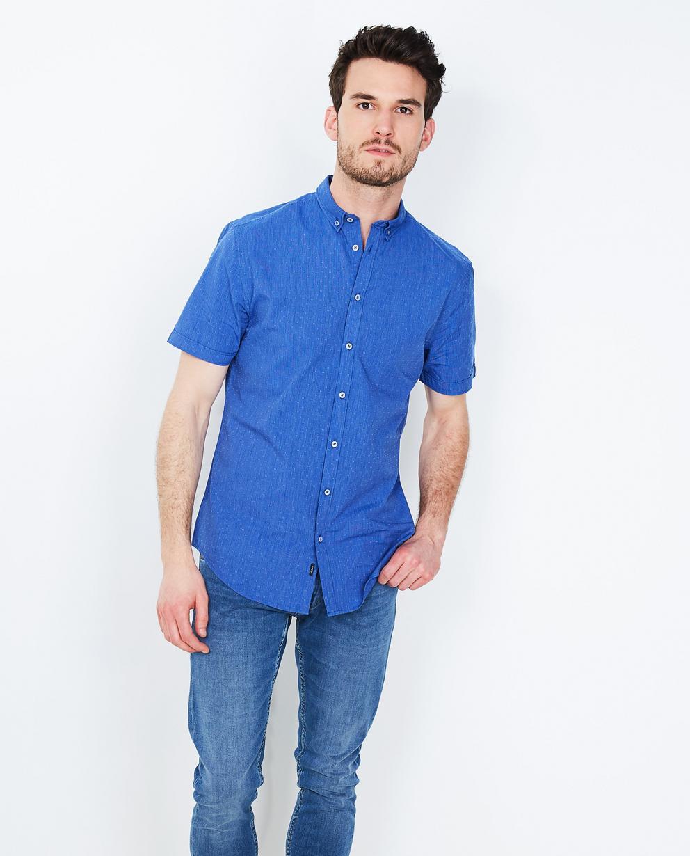 Chemise bleu roi à fines rayures Iveo   JBC Belgique ffce068bc898